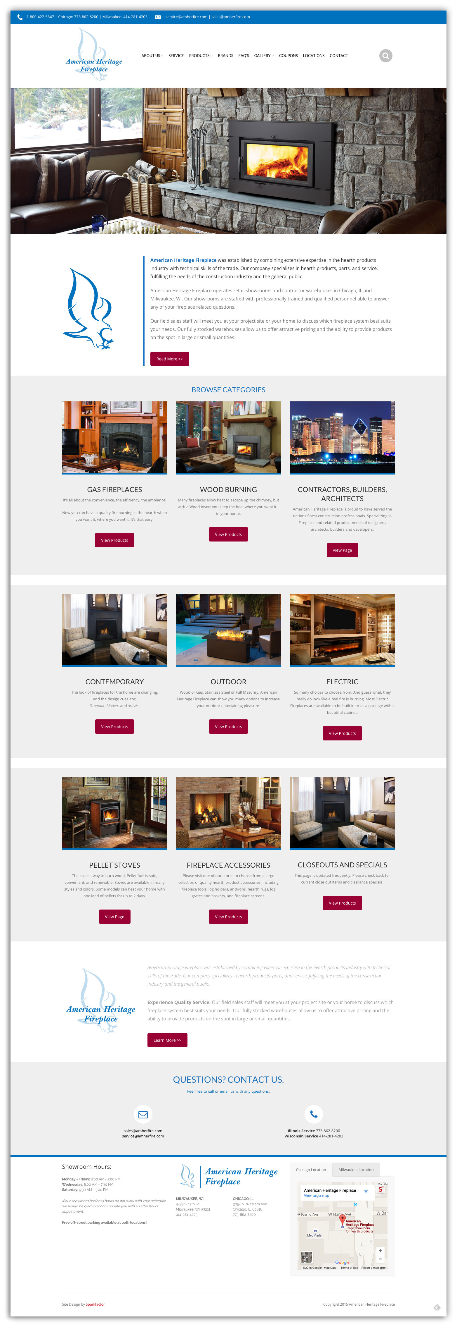 American Heritage Fireplace connected with Sparkfactor to update their website using a mobile-friendly template.