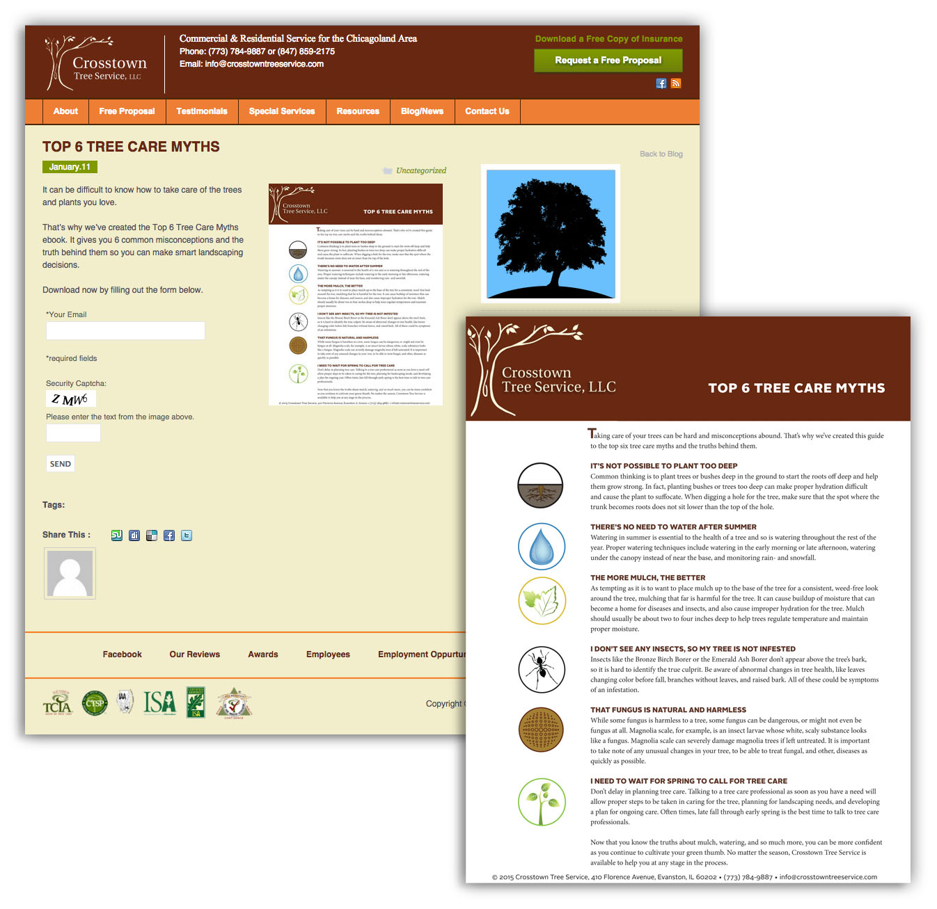 Top 6 Tree Care Myths eBook and Landing Page