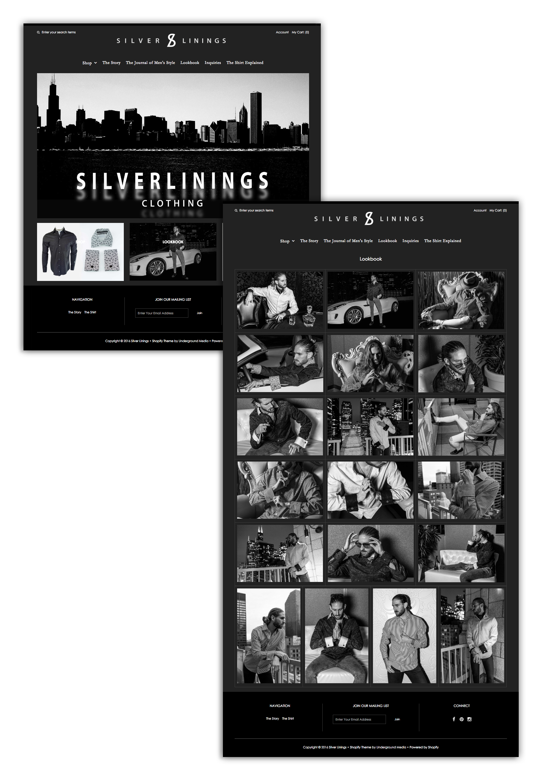 Silver Linings homepage and interior page